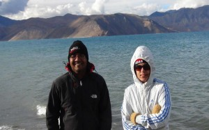 Nikhil with Nehal against backdrop of Pangong