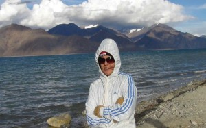 Nehal posing at Pangong Lake