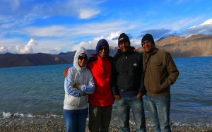 Having fun at Pangong Lake