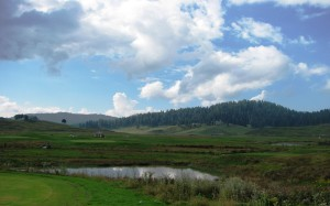 Scenic view of Gulmarg Golf Course during our walk from Gandola to taxi stand 1