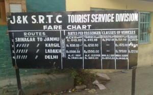 JKSRTC Bus Tariff at TRC