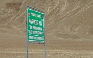 Magnetic hill on our way to Leh