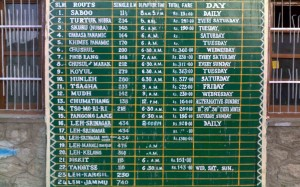 Bus Tariff & Timings in Ladakh